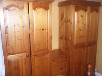 Pine bedroom furniture for sale including 2 wardrobes and 2 bed side drawers 1 bed ,1 drawers.