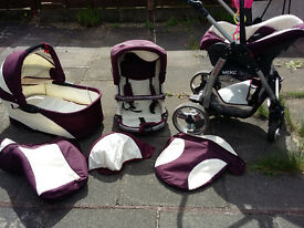 Baby pram 3 in 1 and free Travel Cot
