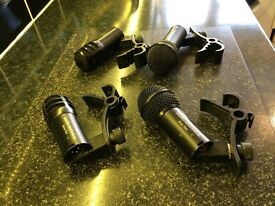 AudioTechnica Drum microphones and clips x 4.