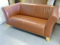 Ikea Brown Leather 2 Seater Sofa Settee. Excellent Condition