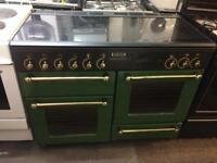 Black & green rang master 110cm gas cooker grill & double ovens good condition with guarantee
