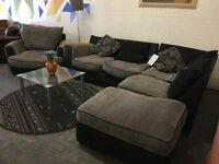 Navy and Grey Corner Sofa and Armchair