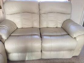 2 seater recliner cream leather sofa