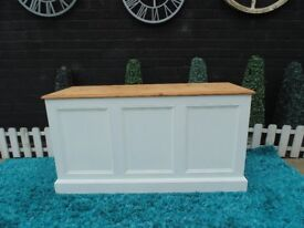 STUNNING EXTRA LARGE AND DEEP BLANKET BOX PAINTED WITH LAURA ASHLEY PALE DOVE AND WAXED