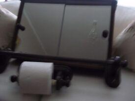 Bathroom cabinet with mirror doors (wooden), Towel rail & Toilet roll holder set VGC!