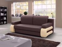 **7-DAY MONEY BACK GUARANTEE!*MERCI Luxury Fabric Sofabed with Wooden Arms in Black and Brown