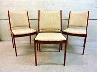 Uldum Mobelfabrik 7171 rare and collectable Danish made vintage designer teak wood chairs x4