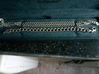 Mens chains one silver neck chain and one silver bracelet, both solid 925 silver