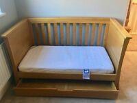 Mama's and Papa's solid oak cotbed, wardrobe, drawer/dresser, shelf & nursing chair