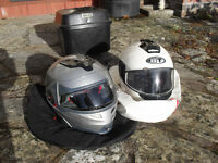 2 motorcycle helmets and top/back box for sale. Will sell seperately