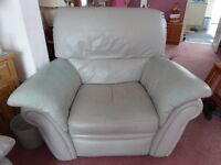 Leather settee and matching armchair