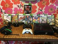 EXCELLENT CHRISTMAS GIFT!!! Microsoft Xbox 360 Slim & Black Console + games +extras + Kinect Sensor