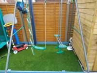 Kids swing seesaw set