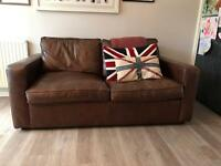 Genuine Leather Dark Brown Sofa Bed (2 Seater)