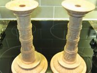 Pair of Hand Carved wooden candlesticks Native American origin