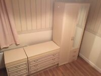 3 piece bedroom furniture set wardrobe mirror 3 drawer chest of drawers bedside Cabinet Table Cream