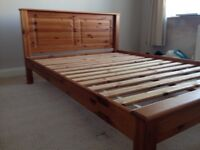 Double wooden bed frame with 2 matching side tables