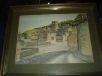 Original Hand Coloured Watercolour Print Jane Pearson Holmfirth North Yorkshire
