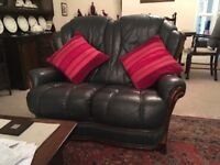 TWO DARK GREY LEATHER SETTEES