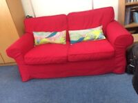 Ikea Red EKTORP Two Seater Sofa With Fully Removeable Machine Washable Covers Delivery Possible