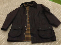 Barbour Beaufort Wax Jacket with hood (almost brand new) size 38