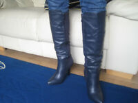 Brand new,Lovely royal blue leather ladies boots size 4 high heel , knee high with studs up back
