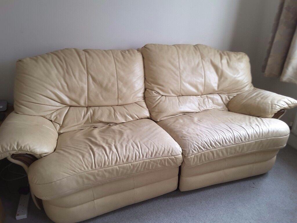 Cream leather 2 seater recliner sofa