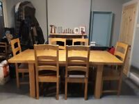 Solid Beech dining table and 6 chair set