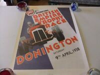 CAR RACING POSTER FOR DONINGTON RACE TRACK IN GOOD CONDITION UNFRAMED HENCE ONLY £3