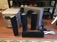 Various Audio Peripherals including a SHARP Amplifier and SONY High Powered Subwoofer