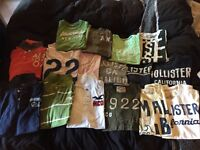 Collection of 16 designer tees, sized small. (Hollister, Ab&Fitch, Diesel, Am. Eagle, Fred Perry)