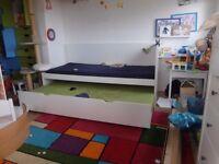 IKEA Flaxa double sleeper bed white children 2 single not bunk