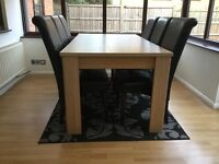 Oak effect table and 6 chairs