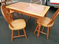 Pine tile top table and chairs