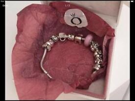 Genuine ALE 925 Silver Pandora Bracelet with 10 Genuine Pandora Charms