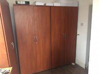 Three x Walnut Storage Cabinets/wardrobes 90m wide each (one needs TLC)