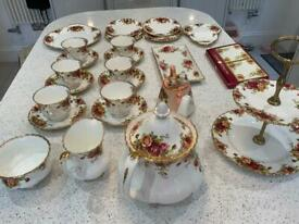 Royal Albert old country tea service, cake plate, two tier cake stand, sandwich plate, & more