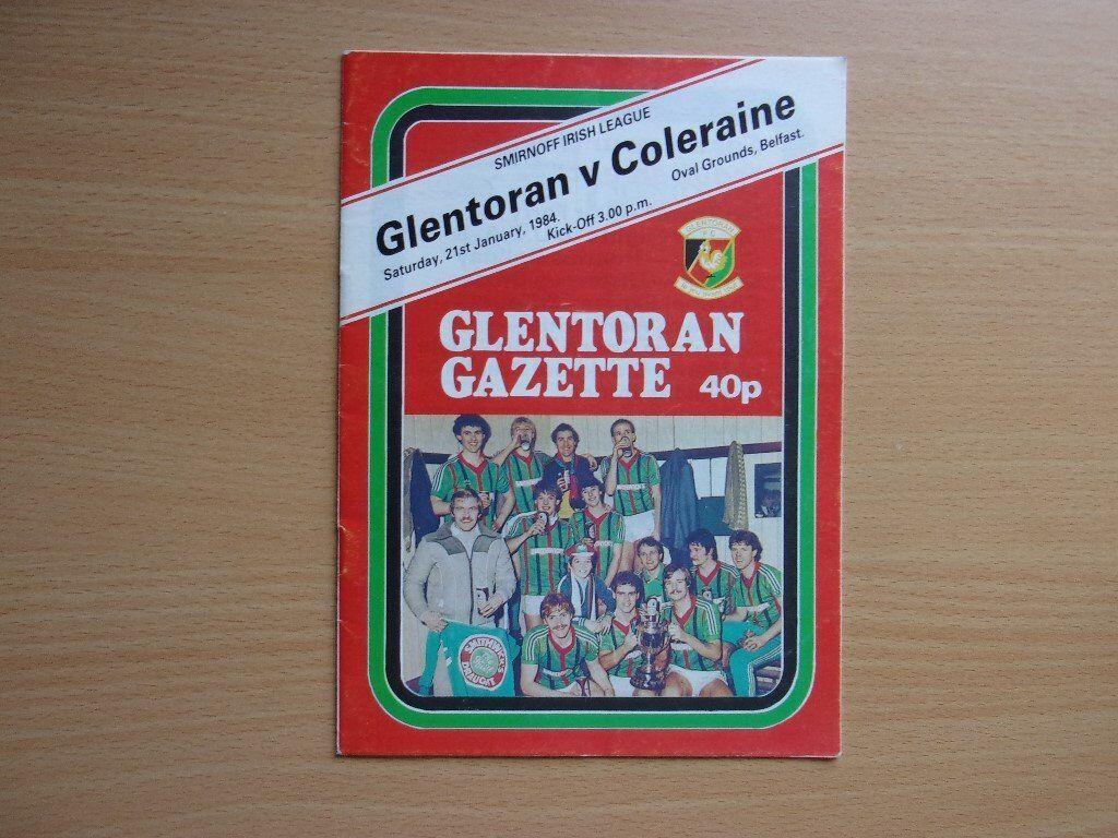 GLENTORAN VS. COLERAINE. 1984 FOOTBALL PROGRAMME. VERY GOOD CONDITION FOOTBALL PROGRAMME.