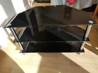 BLACK GLASS TV Stand Corner 80cm Wide 3 Shelves in Good Condition
