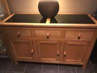 Oak Side Board With Granite Slab Inserts