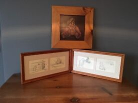 Two Winnie the Pooh pencil drawn prints and a sailor bear pine framed picture.