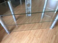 3 shelved Glass TV Stand in Good Condition