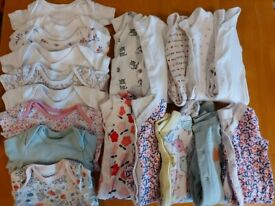 Newborn/first size baby girl bundle - sleepsuits and vests