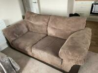 Brown 2 seater sofa, armchair & footstool with storage - £100 OPEN TO OFFERS