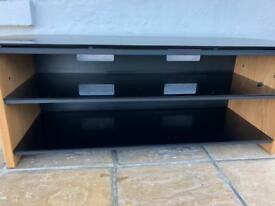 Tv stand cabinet real wood and glass
