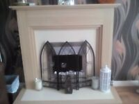 Cream/light wood electric fire place great condition