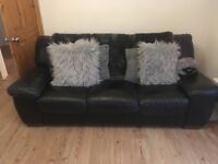 Black Real Leather Sofas