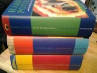 3 harry potter hardback books
