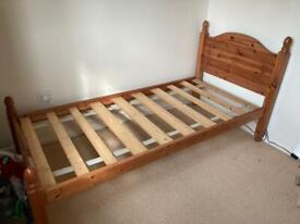 Solid pine single bed and mattress if want it