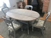 Ornate shabby chic table and 4 chairs